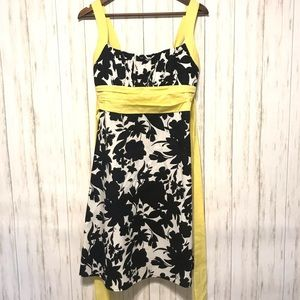 Dress Barn Floral Dress Black White Yellow Size 10